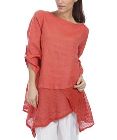 Look at this Orange Mesh Linen Handkerchief Tunic - Plus Too on #zulily today!
