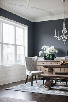 Interior Design Ideas: Grey Shingle Home Interior Design Ideas: Grey Shingle Home White wainscoting , trim and ceiling paint color is Benjamin Moore Simply White with dark charcoal walls painted in Benjamin Moore Charcoal Slate Room Wall Colors, Dining Room Colors, Dining Room Walls, Dining Room Design, Living Room White, Living Room Decor, Dark Grey Dining Room, Charcoal Walls, Gray Walls