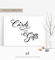 Gifts and Cards Sign, Gift Table Signs, Printable cards and gifts party prints, greeting cards, wedding gift sinage, wedding posters, LB1 Gift Table Signs, Love Birds Wedding, Wedding Posters, Or Mat, Teacher Appreciation Gifts, Printable Cards, Daily Deals, Bridal Shower Invitations, Wedding Signs