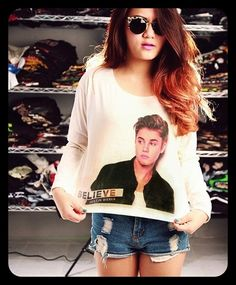 Justin Bieber Believe Shirt Long Sleeve T Shirt Indie Folk Crop Top Off White Art Cream Women Size S M