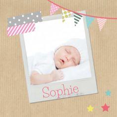 foto geboortekaartje kraftpapier meisje