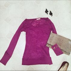OP sheer detail fabric long sleeve top.  M/L Really comfy.  Has really cool sheer detail in it.  Check out the 4th pic.  Gently used. Open End Tops Tees - Long Sleeve