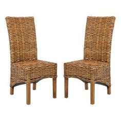 Set of two high-back mango wood and wicker side chairs.   Product: Set of 2 side chairsConstruction Material: Mango wood and wickerColor: BrownDimensions: 42.1 H x 20.9 W x 18.5 D eachCleaning and Care: Professional cleaning recommended