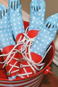 "a lot of work, but darling...red ""sneaker"" laced napkin wraps"
