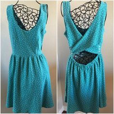 🎯SALE🎯 Teal Cross Back Knit Dress Beautiful & Trendy!! Teal with white polka dot knit dress!👗👗👗  Cross body back with small button closures! Machine wash cold. LC Lauren Conrad Dresses Midi