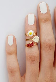 What I've always wanted.... Jane's Tiny Things Bacon Egg and Cheese Midi Ring Set | FOREVER21 - 1000096673
