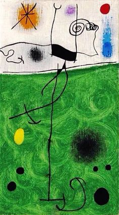 "Joan Miró ""Sur La Verte Prairie Au Lever Du Soleil""(On the Green Meadow at… Hieronymus Bosch, Pablo Picasso, Abstract Expressionism, Abstract Art, Miro Paintings, Spanish Painters, Inspiration Art, Jackson Pollock, Art For Art Sake"