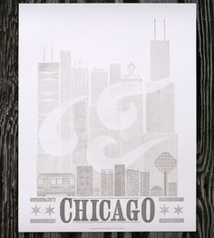 Chicago Letterpress Print by Starshaped Press on Scoutmob Shoppe. This is entirely letterpress printed.