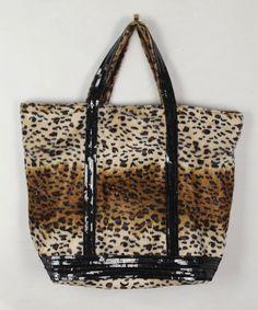 Léopard Vanessa Bruno sac cabas sequins noires sac femme léopard cadeau  noel femme sac à main léopard fourre tout léopard sac fourrure 6af4d993f05d