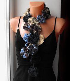 Multicolor crochet flower scarf scarflette, neckwarmer, floral, long scarf, necktie, belt, lariat scarf, necklace
