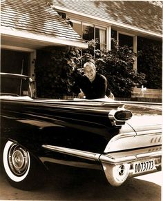 George Reeves (Superman) with his 1959 Oldsmobile 88 convertible, 1959