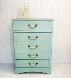 Dresser wood /  painted furniture / chalk paint / turquoise dresser / gold handles / furniture makeover by mixxy design / cape cod style