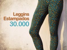 Leggins leopardo naranja-turquesa $30.000