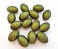 Olive Green Rubberized Acrylic Beads.  Oval Shaped. 17 X 12mm in Size. 15 Beads Per Order. 4 Orders Available. by FunkyCreativeJuices on Etsy