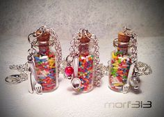 Rainbow Candy Sweet Sprinkles Bottle Pendant. Glass Vial Necklace. Candies Miniature Bottle, Mini Vial, Large Big. Colorful Kawaii Fantasy