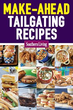 Simply open up containers, and you'll have a crowd-pleasing spread. These make-ahead recipes are ready to eat straight out of the cooler. Simply open up containers, and you'll have a crowd-pleasing spread. Easy Tailgate Food, Tailgating Recipes, Breakfast Tailgate Food, Football Recipes, Barbecue Recipes, Barbecue Sauce, Party Recipes, Egg Recipes, Grilling Recipes