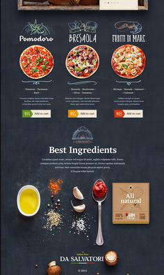 Another organic food visual style and website design concept for Italian Pizzeria by Mike Creative Mints on dribbble. Menue Design, Food Web Design, App Design, Website Design Inspiration, Site Restaurant, Italy Restaurant, Restaurant Poster, Balkan Food, Logo Pizzeria