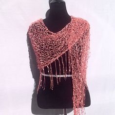 Dazzling Illusions Shawl or Scarf in Salmon