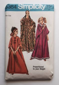 Simplicity 8354 Sewing Pattern Mod Caftan Long Dress Robe Misses One Size New Uncut Vintage