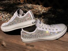 Baby Converse Shoes With Diamonds.Rhinestone And Pearl Kids Converse Teegan Jamicyne. Baby Girls Pink White Boys Black Blinged Out Converse Crib . Blinged Out Converse Lol In 2019 Converse Wedding Shoes . Converse All Star, Baby Converse Shoes, Cute Converse, Converse Fashion, Shoes Sneakers, Cute Shoes, Me Too Shoes, Shoe Boots, Shoe Bag