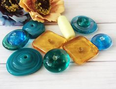 Multi-Color Handmade Lampwork Glass Beads From Murano Glass 9 Pcs #HandmadeLampworkBeads #Lampwork