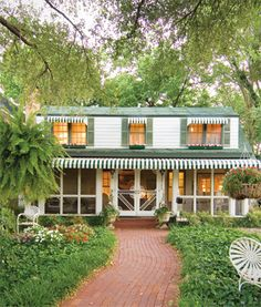 awnings and doors + green and white Canvas Awnings, Summer Porch, Window Awnings, White Houses, Southern Style, Umbrellas, Tents, Windows And Doors, Bungalow