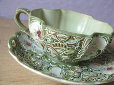 vintage unique tea cup and saucer set hand by ShoponSherman,