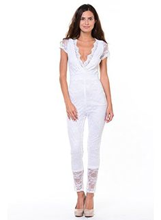 2f5502b609f Amazon.com  Sexy Floral Stretch Lace Cap Sleeves Full Length Club Wear Romper  Jumpsuit (L-3486)  Clothing