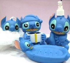 blue set of 4pc Disney Stitch Bathroom soap dish Lotion Bottle shower set