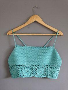 Cropped | croche | top | verde água | alça fina
