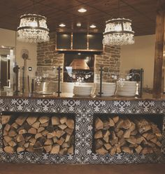 Wood Pizza Oven - Black & White Tile - Restaurant Interior Design