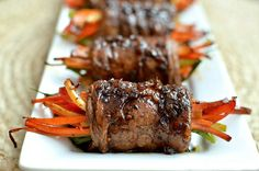 Balsamic Glazed Steak Rolls.  Can be made with flank/skirt steak or thinly sliced sirloin.