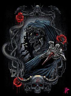 The god of death Arte Horror, Horror Art, Satanic Art, Evil Art, Skull Artwork, Grunge Art, Skull Wallpaper, Dark Art Drawings, Scary Art
