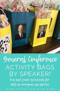 General Conference Activities in activity bags for each speaker during general conference! The perfect activities for kids during general conference! General Conference Activities For Kids, Primary Activities, Toddler Activities, Family Activities, Fhe Lessons, Primary Lessons, Lds Primary, Primary Music, Visiting Teaching Handouts