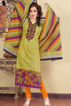 Old Gold Yellow Cotton Printed Casual and Party Churidar Kameez Sku Code:372-4323SL587044 $ 35.00