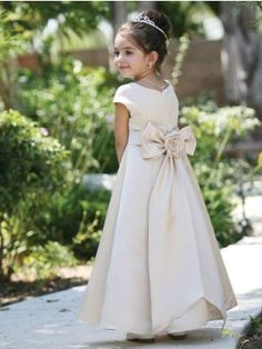 Classic Big Satin Bow Girl Dress (White or Ivory) - Flower Girl (Sizes 2-12) - GIRLS