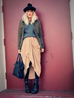 (Hat – Vintage, Jacket – c/o RL Denim & Supply or similar here, Sweater – Thrifted, Skirt – American Apparel, Boots – Jeffrey Campbell, Bag - Cole Haan)    For the morning of Christmas Eve, I pretended it wasn't 70 degrees and layered up a look that felt festive and fun. Sometimes it's good to play pretend.