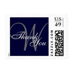 Thank You Navy Blue Gray Monogram Postage