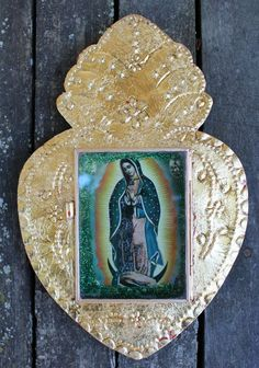 Our of Lady Guadalupe Metalic Gold Leaf Niche Nicho Reliquary Mexican Folk Art