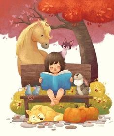 Book Girl Library Illustrations New Ideas Reading Art, Kids Reading, Reading Cartoon, Book Girl, Children's Book Illustration, Illustration Animals, Book Illustrations, Watercolor Illustration, Cute Drawings