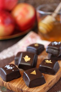 Chocolate Covered Caramels with honey and apple - from OhNuts.com