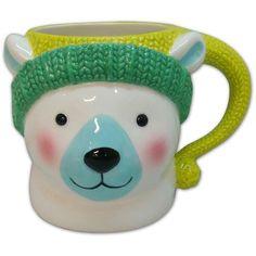 St. Nicholas Square North 18-oz. Polar Bear Mug () ($8) ❤ liked on Polyvore featuring home, kitchen & dining, drinkware, stoneware mugs, wizard of oz mug and polar bear mug