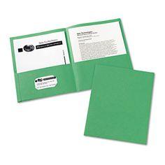 Two-Pocket Portfolio, Embossed Paper, 30-Sheet Capacity, Green, 25/box