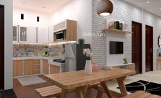 Kitchenset   3d interior - minimalist room, kitchen set , panel tv , dining room , dining table , tegel kunci