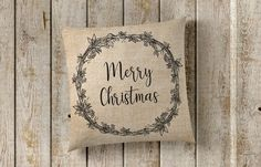 Christmas Pillow Cover, Merry Christmas, Holiday Pillow, Farmhouse Pillow Cover, Faux Burlap Pillow Cover, Farmhouse Decor, Pillow Covers by SweetSunshineShoppe on Etsy
