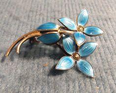 Vintage Norway Sterling & Enamel Ivar T Holt Signed Blue Floral Petal Brooch on Etsy, $77.67