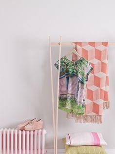 Pretty Painted Radiator & Geometric-Print Blanket   via You Magazine   photo David Cleveland   House & Home