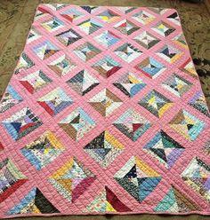 Antique Handmade QUILT ~ Pink, Diamond