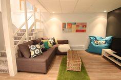 Basement Gym, Basement Bedrooms, Dressing, Condominium, Floor Chair, Family Room, Pillows, Furniture, Decorating Ideas