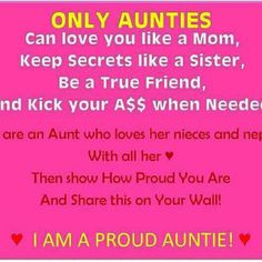 Great sisters get promoted to aunties...I love my neices and nephews with all my heart.